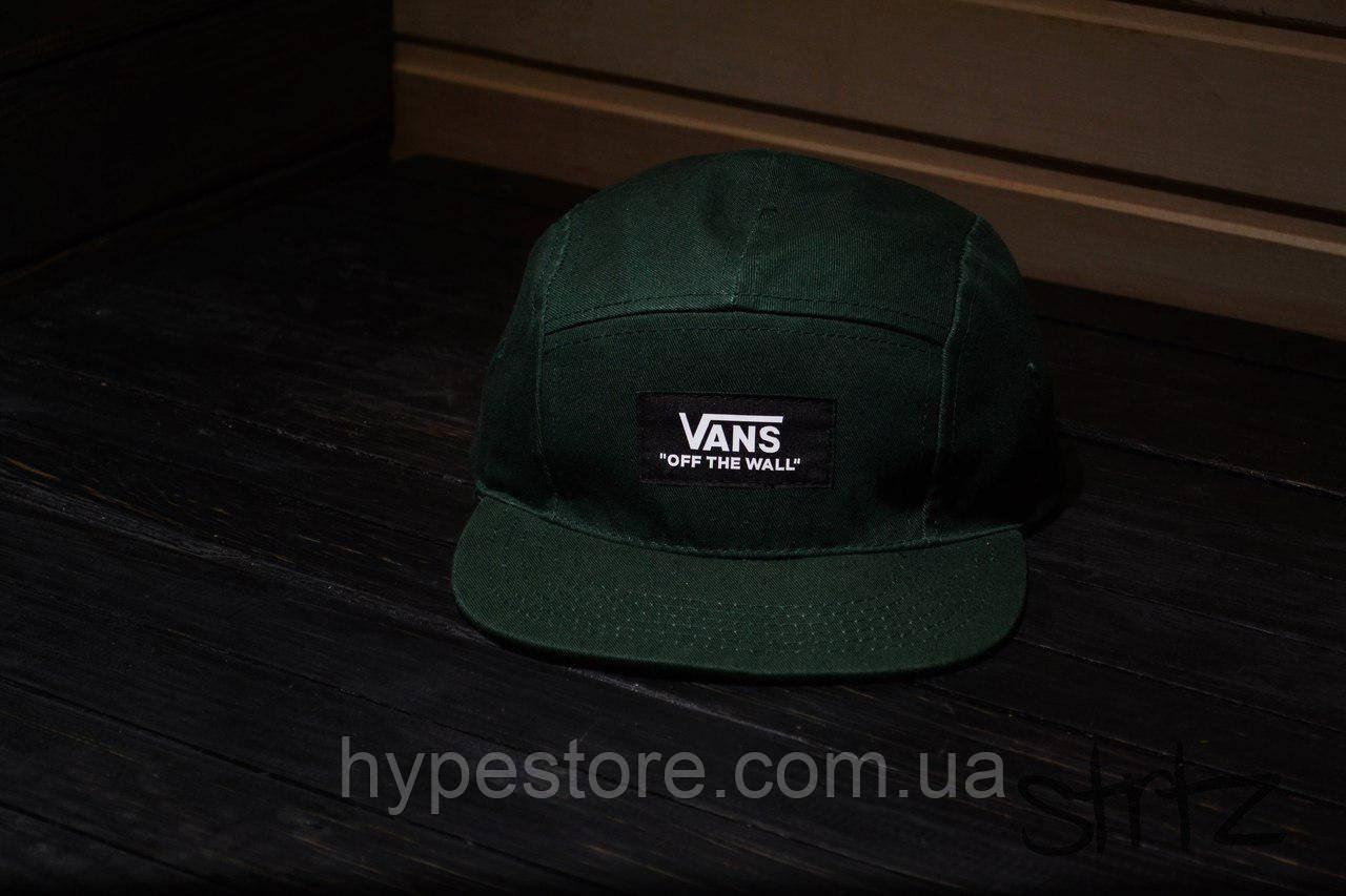 Пятипанельная кепка-снепбек Vans (ванс, зеленого цвета), Реплика
