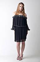 Черное коктейльное платье с воланами Amodediosa