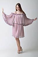 Розовое коктейльное платье с воланами Amodediosa