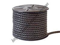 Шнур кожаный черный (плетеный) (d=6,0мм)