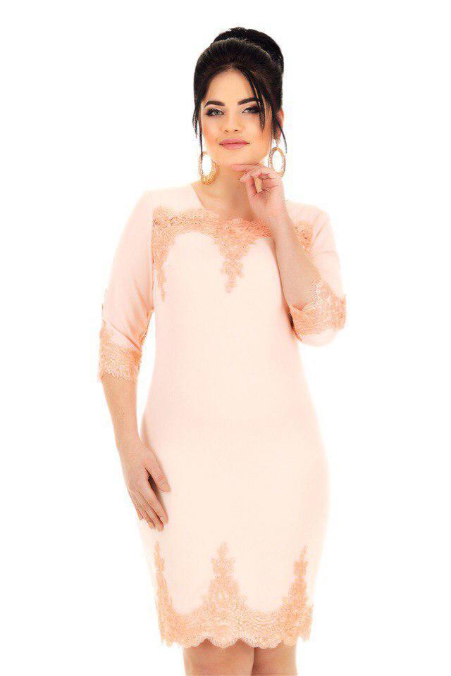 Е8001 Платье с кружевной отделкой  50-54