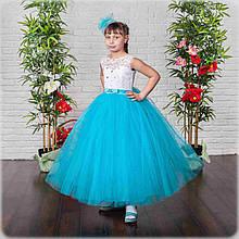 Красивое бальное платье в пол для девочки голубое(32,34)