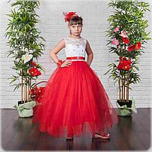 Красивое бальное платье в пол для девочки красное(32,34)