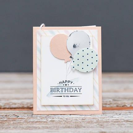 Листівка міні Happy Birthday кульки, фото 2