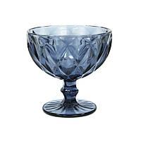 Стеклянная креманка Изумруд синяя, 250 мл
