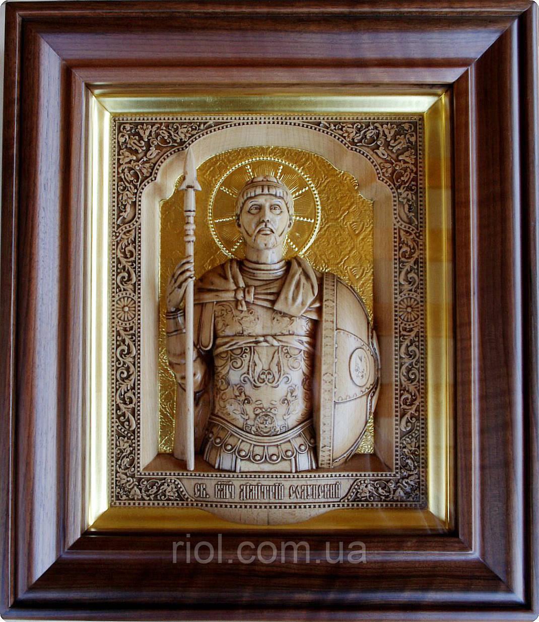 """Різьблена ікона з сусальним золотом """"Святий великомученик Димитрій Солунський"""""""