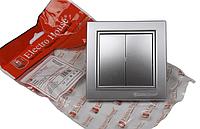 Выключатель двойной серебро Enzo