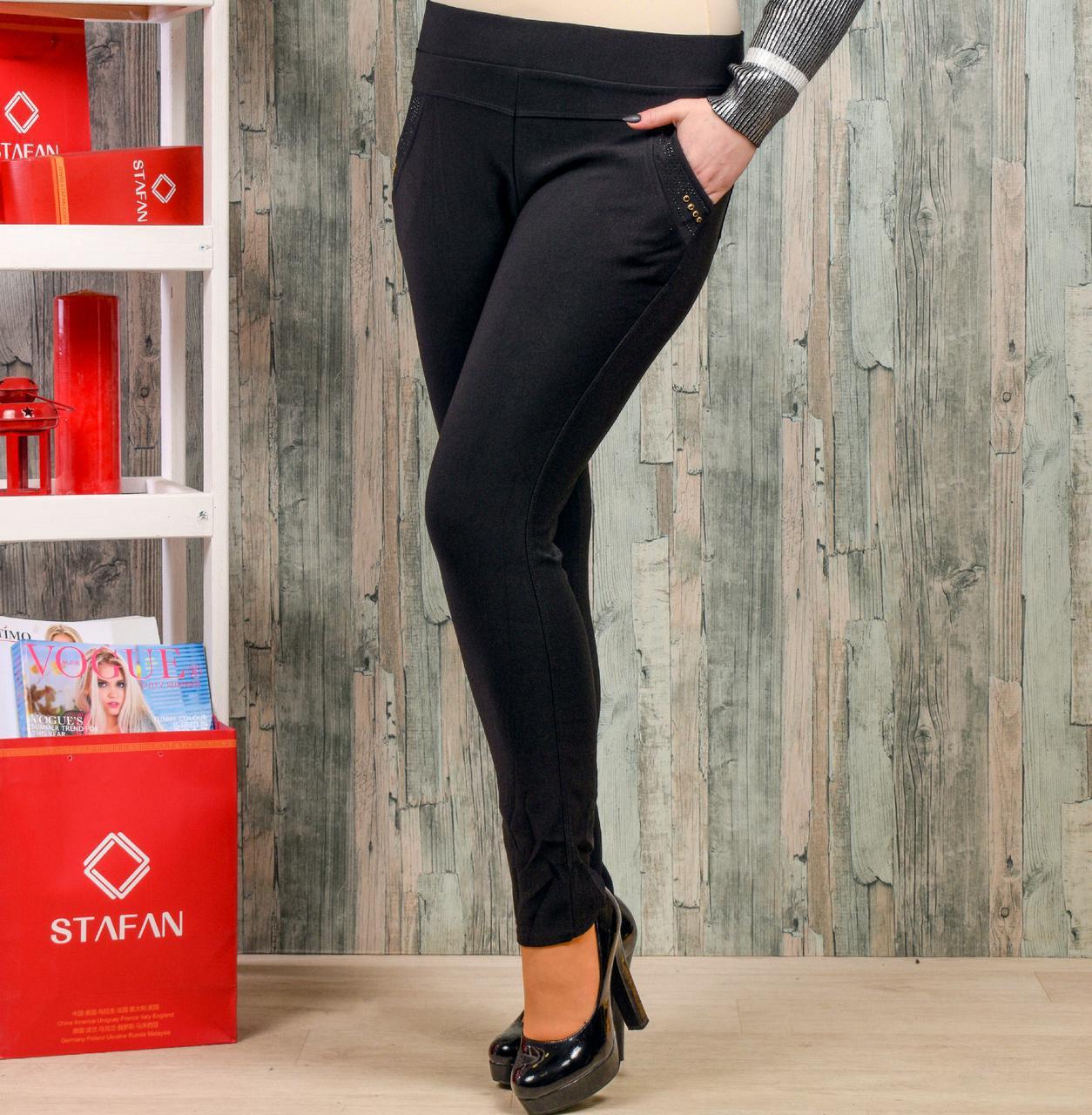 Женские лосины со стразиками на карманах Натали К36-2 7XL. Размер 52-5