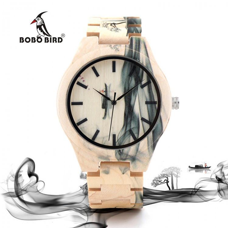 Часы деревянные мужские Bobo Bird Fire