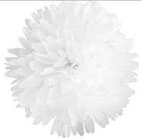 Бумажный помпон для праздника, 25 см. белый