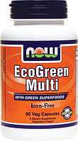 Витамины Эко Грин, Now Foods, EcoGreen Multi Iron Free, 90 caps