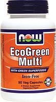 Витамины Эко Грин, Now Foods, EcoGreen Multi Iron Free, 90 caps