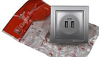Розетка USB серебро Enzo