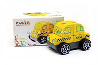 Детский деревянный конструктор машинка Taxi(Такси) Cubika(Кубика)13159.Деревянные игрушки