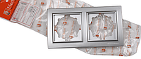 Рамка двойная серебро Enzo