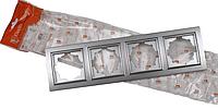 Рамка четырехместная серебро Enzo