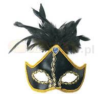 Маска карнавальная черная кожаная С пером.
