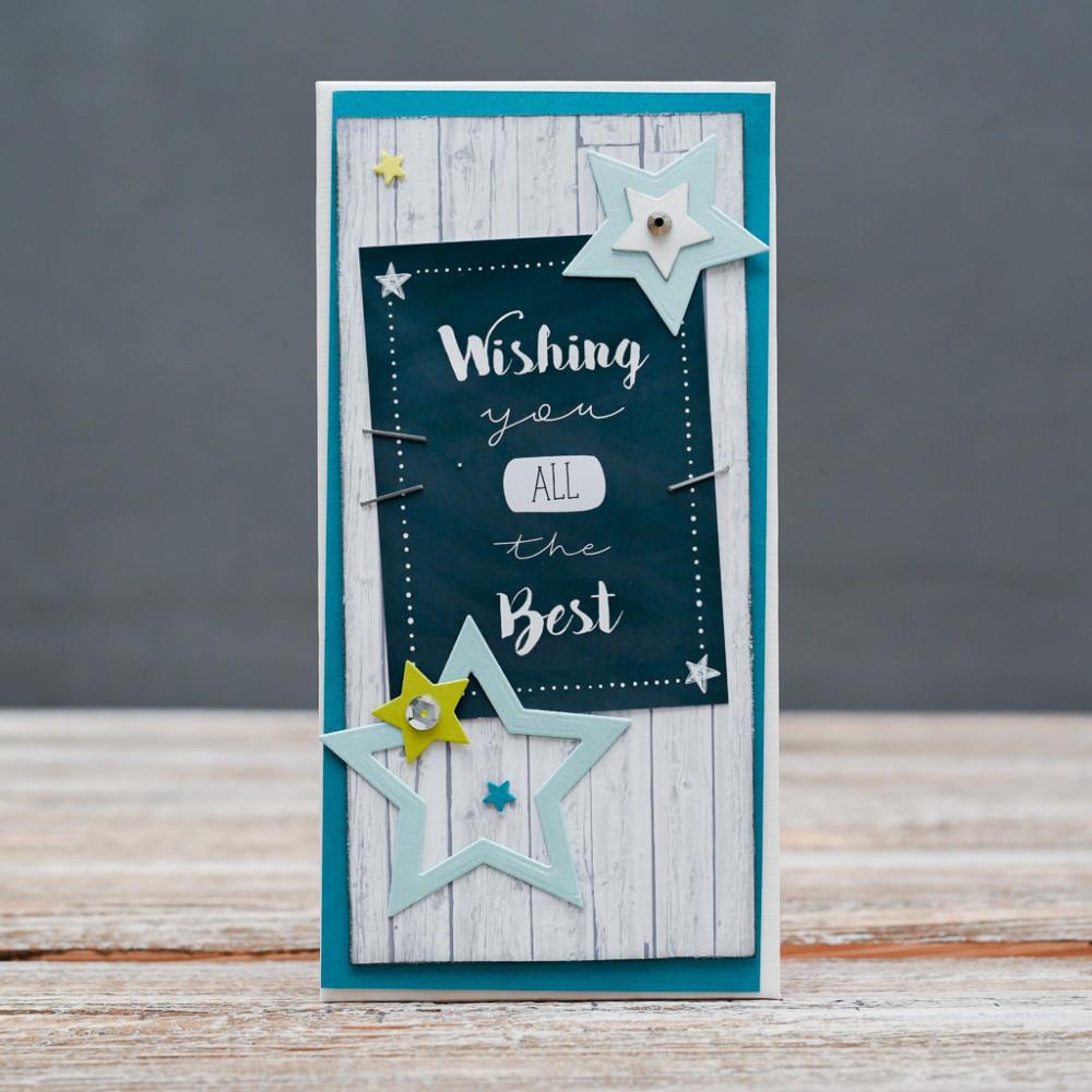 Открытка конверт Wishing you all the best звёзды