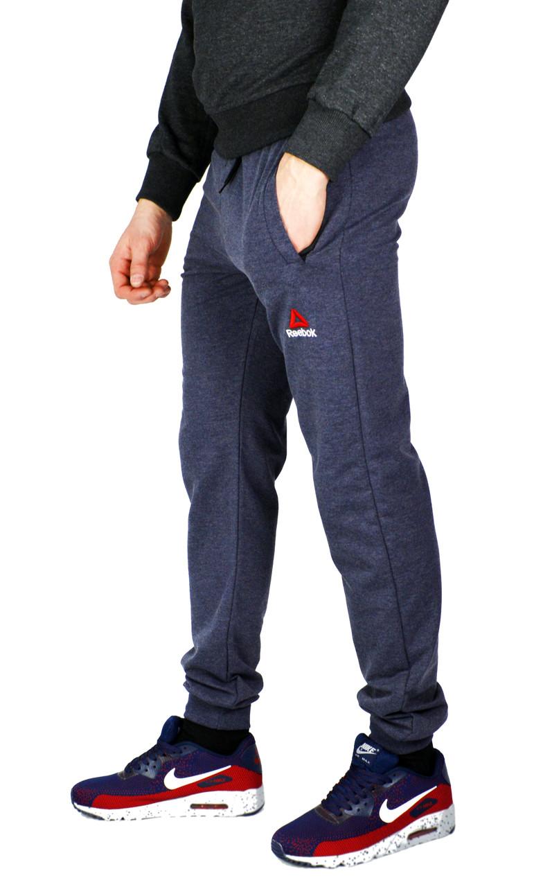 Серо-синие мужские спортивные трикотажные штаны с манжетами REEBOK