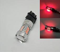Автолампа LED, T25, P27/7W, 3157, 12V, 22 SMD 3030, Красная
