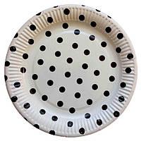 Тарелочка Белая в горошек 23 см диаметр