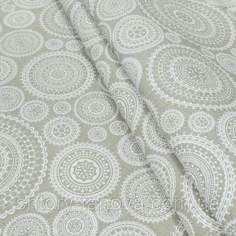 Декоративная ткань для штор, круги, бело-молочный