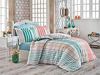 Комплект постельного белья  Hobby поплин размер евро Stripe зеленый