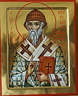 Сусальное золочение икон Святого Спиридона Тримифунтского.