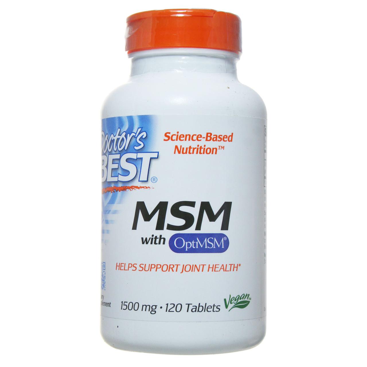 Метилсульфонилметан (МСМ), Doctor's Best, 1500 мг, 120 таблеток
