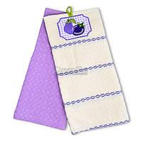 """Набор вафельных полотенец Home Line """"Баклажан"""" белый-фиолетовый 45х70 см 2 шт (134492)"""