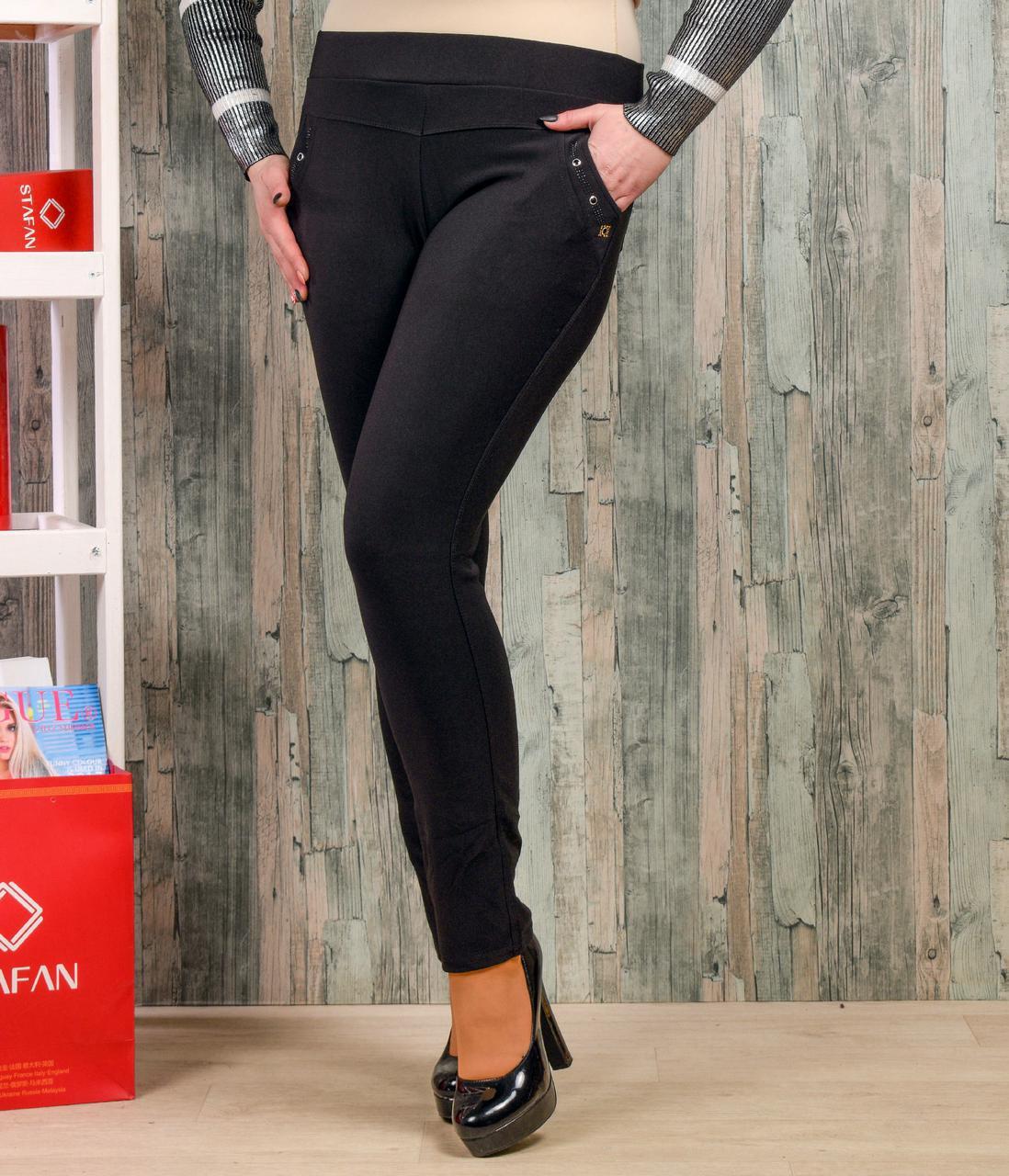 Женские лосины со стразиками на карманах Натали К36-4 7XL. Размер 52-5