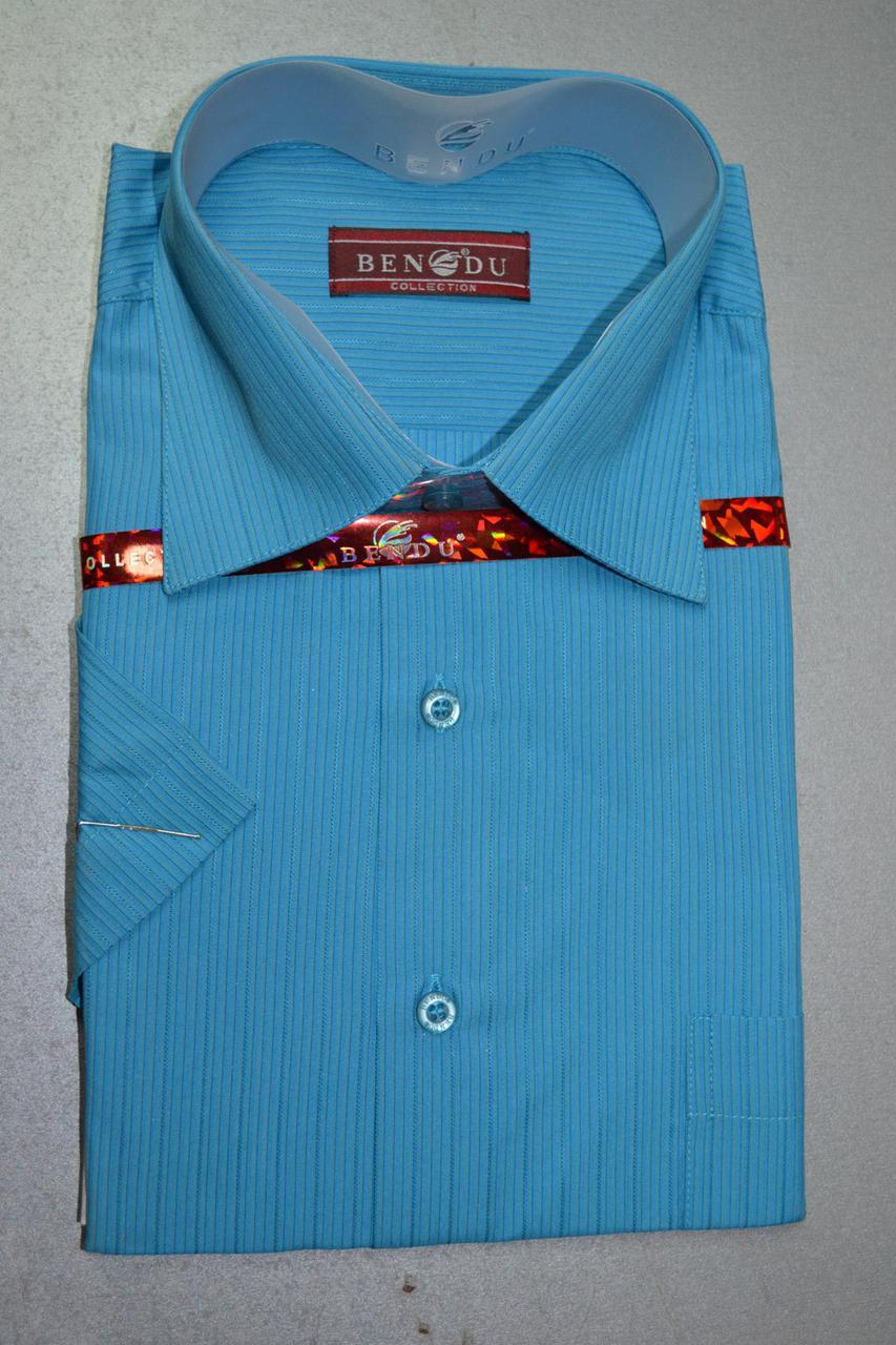 Мужская бирюзовая рубашка c коротким рукавом BENDU (размеры 39.40.45)