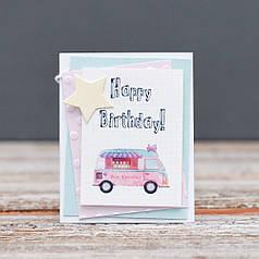 Открытка мини Happy Birthday машина мороженого