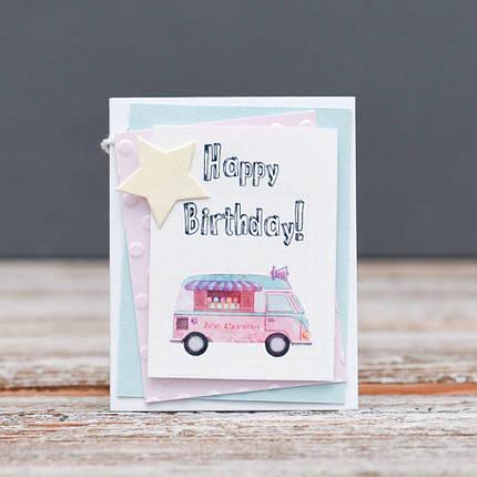 Открытка мини Happy Birthday машина мороженого, фото 2