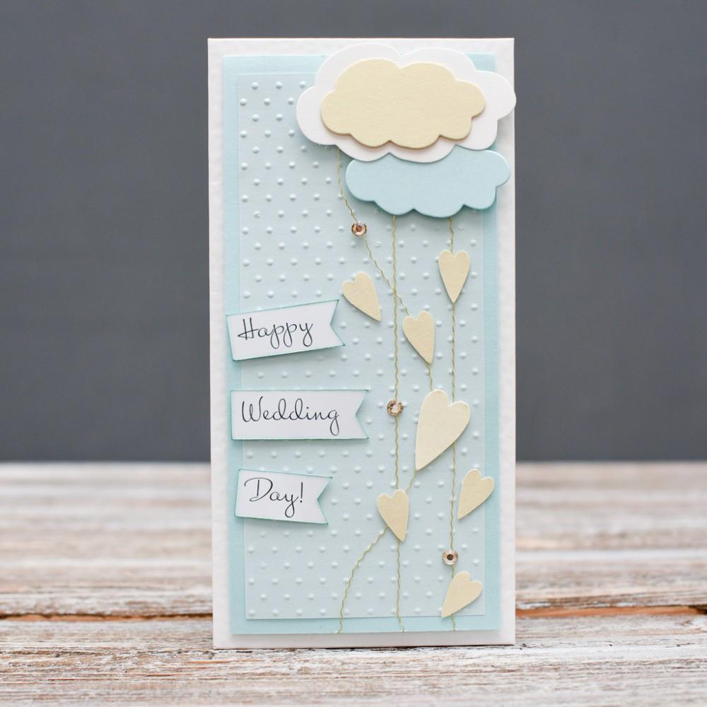 Открытка конверт Happy wedding day сердца и облака
