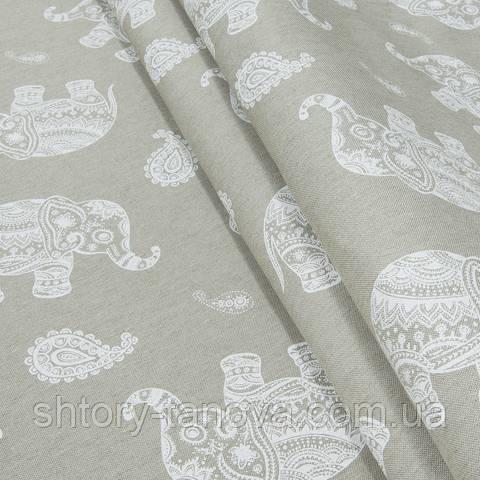 Декоративная ткань для штор, индийские слоники