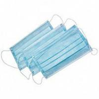 Хірургічні маски (тришар. на гумках) - 50 шт/уп, сині, DOCHEM