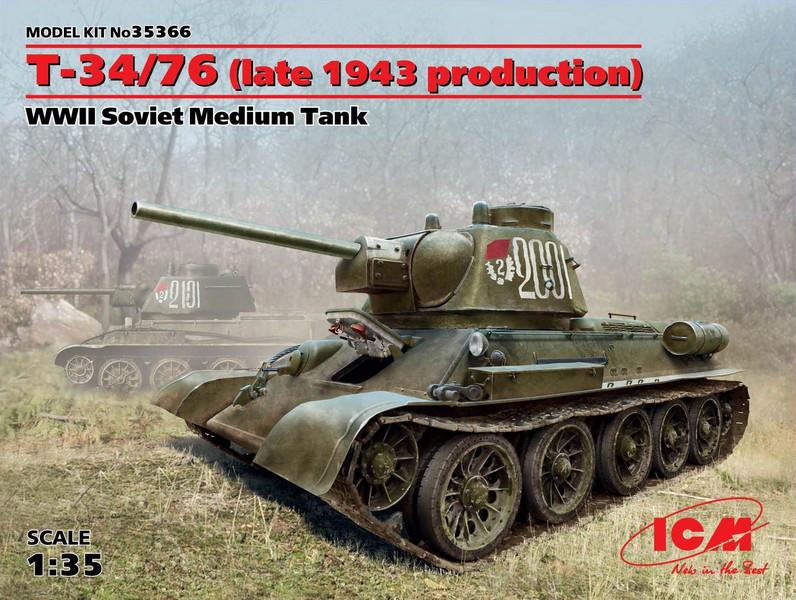 T-34/76 (поздняя версия 1943 г). Советский средний танк II Мировой войны. 1/35 ICM 35366