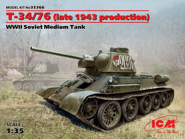 T-34/76 (поздняя версия 1943 г). Советский средний танк II Мировой войны. 1/35 ICM 35366, фото 2