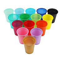 Одноразовые пластиковые стаканы - 100 шт/уп, син., зелен., желт., роз., фиолет., лайм, фуксия, красный