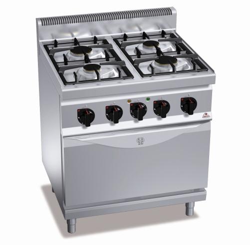 Плита газовая Bertos G7F4E+FE1 электрической духовкой конвекционного типа