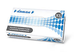Перчатки латексные, припудренные DOMAN - 100 шт/уп, XS, S, M, L, XL