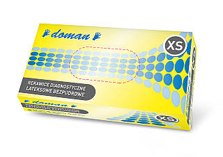 Перчатки латексные, неопудренные DOMAN - 100 шт/уп, XS, S, M, L, XL