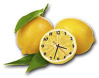 """Фигурные настенные часы """"Сочные лимоны"""" красивый дизайн кухни 30х40 см"""