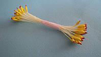 Тычинки желтые с красным кончиком  кругло-острые 25шт.(код 03295)