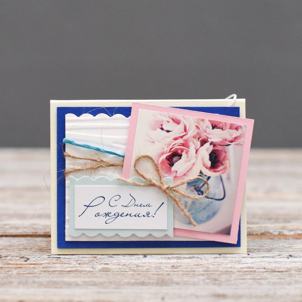 Открытка мини С Днём Роджения розовый букет