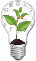 """Красивые фигурные настенные часы """"Зелёный росток"""" 30х52 см"""