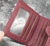 Кошелек женский тройного сложения бордовый с пряжкой., фото 6