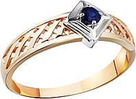 Кольцо из красного и белого золота с сапфиром
