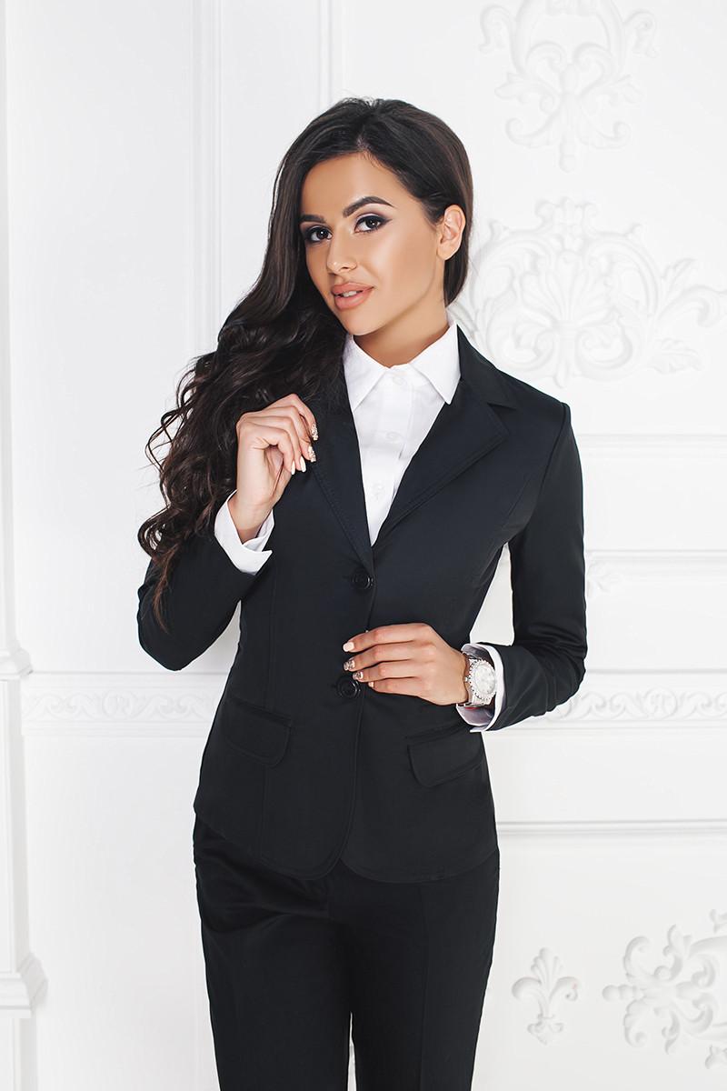 Пиджак удлиненный на две пуговицы сзади - шлица Черный, 44